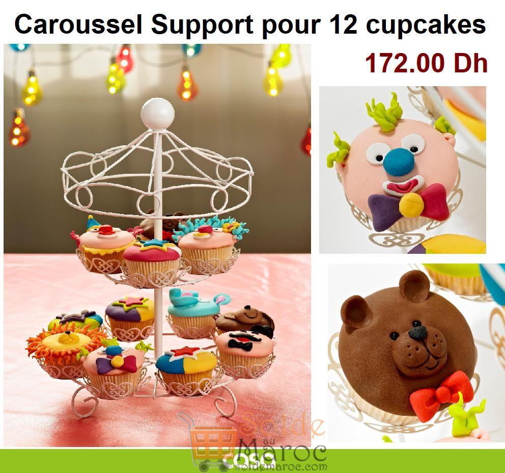 Prix Normal CASA Maroc Carrousel Support pour 12 cupcakes en métal blanc 172Dhs
