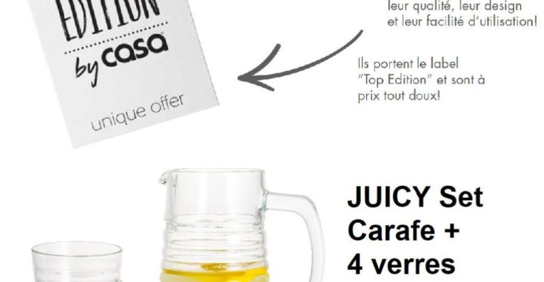 Photo of Offre Top Edition Casa Maroc Juicy Set Carafe + 4 verres 69.50Dhs