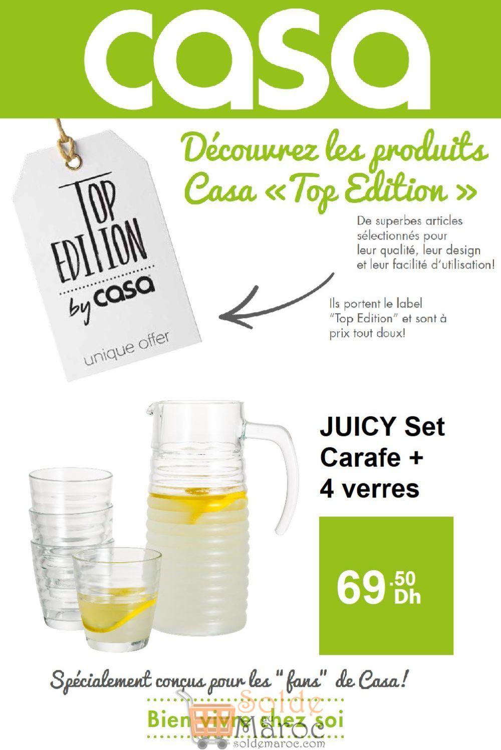Offre Top Edition Casa Maroc Juicy Set Carafe + 4 verres 69.50Dhs