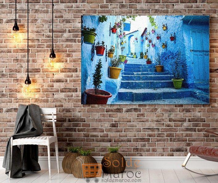 Promo Massinart Tableau décoratif Chefchaouen imprimé en HD 198Dhs au lieu de 209Dhs