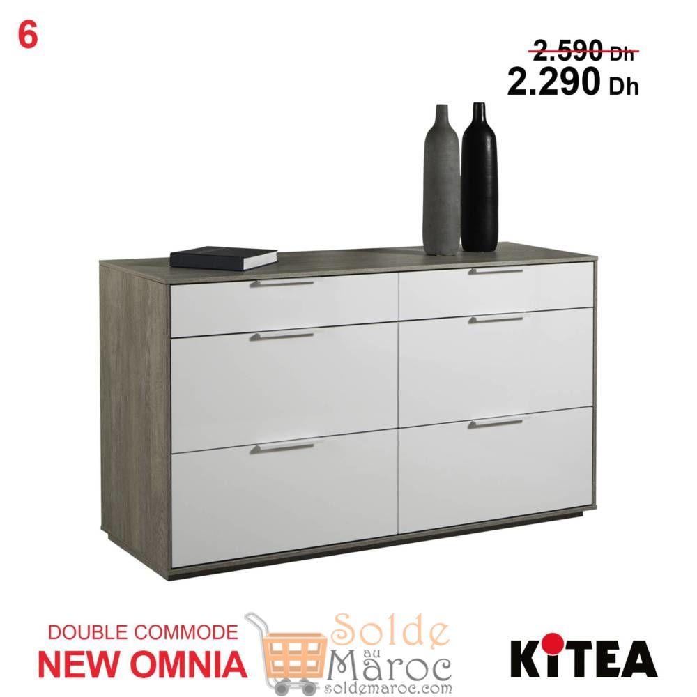 Promo Kitea Double Commode NEW OMNIA 6 tiroirs 2290Dhs au lieu de 2590Dhs