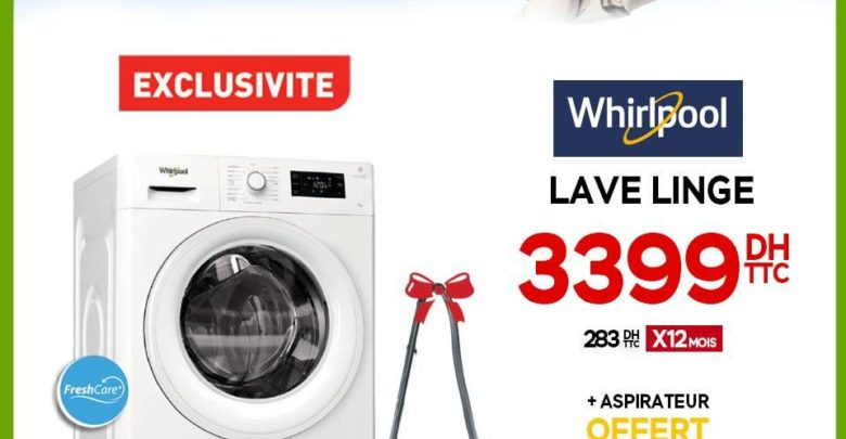 Offre Electroplanet Lave-linge Whirlpool + Aspirateur 3399Dhs
