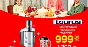 Promo Electroplanet Pack Taurus Centrifugeuse + Bouilloire + Blender 999Dhs au lieu de 1399Dhs
