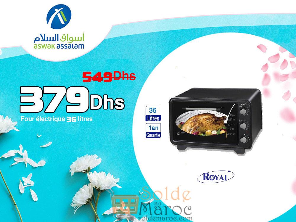 Promo Aswak Assalam FOUR ÉLECTRIQUE 36 Litres 379Dhs au lieu de 549Dhs