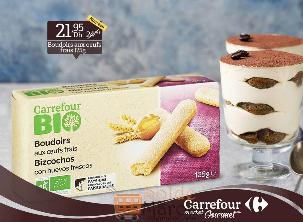 Promo Carrefour Gourmet Boudoirs BIO aux œufs frais 21.95Dhs au lieu de 24.50Dhs