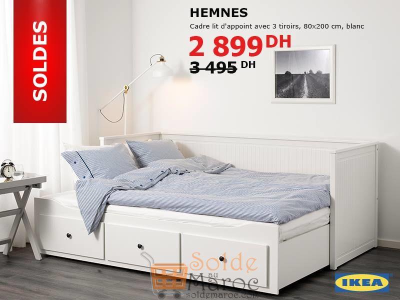 Soldes Ikea Maroc Cadre lit d'appoint avec 3 tiroirs HEMNES Blanc 2899Dhs au lieu de 3495Dhs