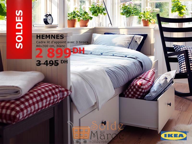Soldes Ikea Maroc Cadre Lit Dappoint Avec 3 Tiroirs Hemnes Blanc