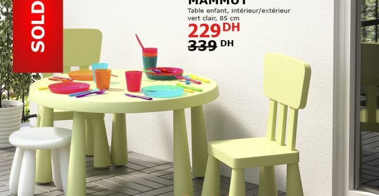 Photo of Soldes Ikea Maroc Table Enfant MAMMUT Vert Clair 229Dhs