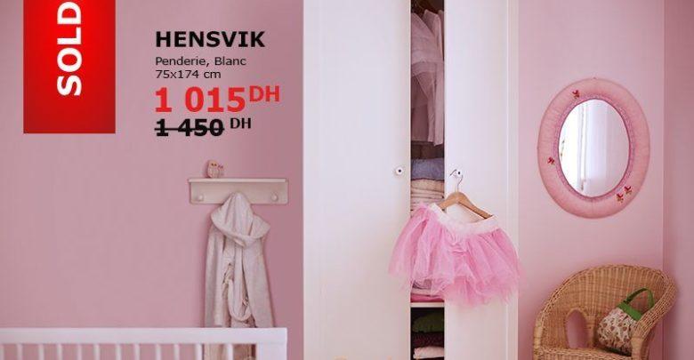 Soldes Ikea Maroc Penderie Blanc HENSVIK 1015Dhs au lieu de 1450Dhs