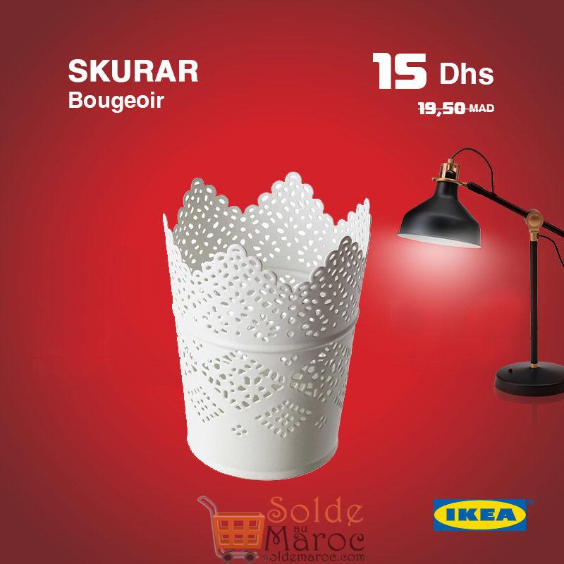 Soldes Ikea Maroc Bougeoir SKURAR 15DHS au lieu de 19,50Dhs
