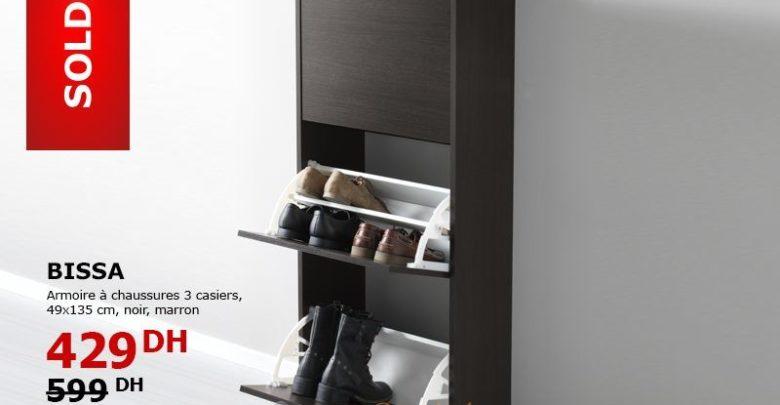 Promo Ikea Maroc Armoire à chaussures BISSA 3 Casiers 429Dhs au lieu de 599Dhs