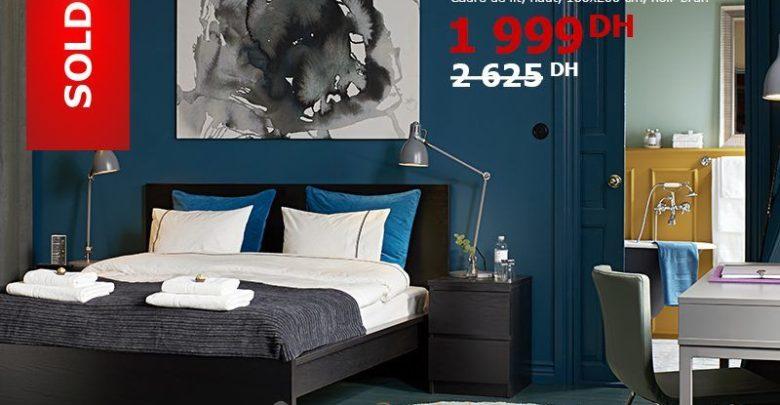 Soldes Ikea Maroc Cadre de Lit MALM Noir-brun 1999Dhs au lieu de 2625Dhs