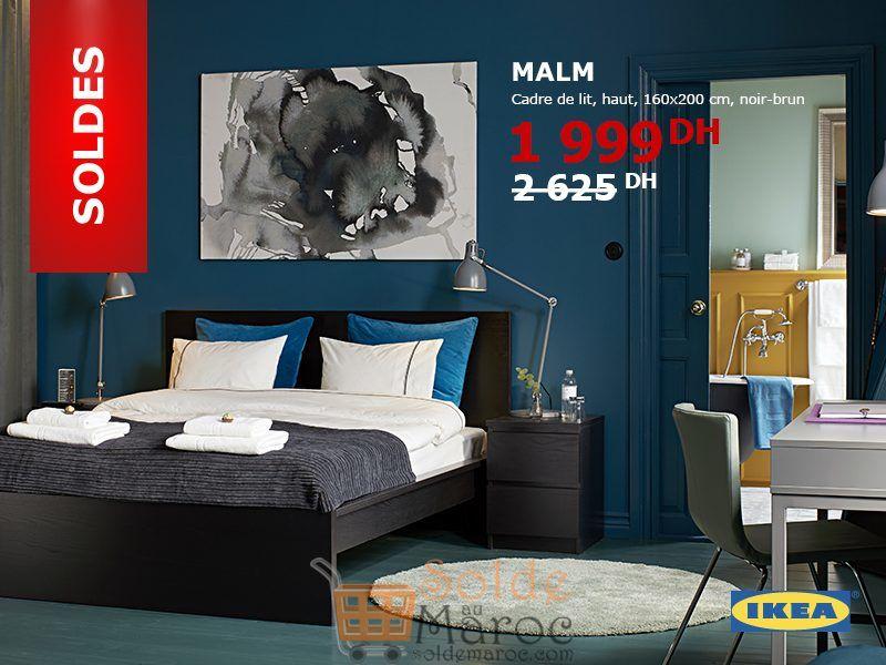soldes ikea maroc cadre de lit malm noir brun 1999dhs solde et promotion du maroc. Black Bedroom Furniture Sets. Home Design Ideas