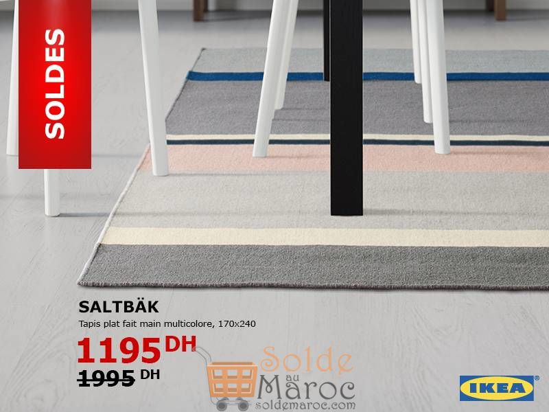 Soldes Ikea Maroc Tapis Fait Main Multicolore SALTBÄK 1195Dhs au lieu de 1995Dhs