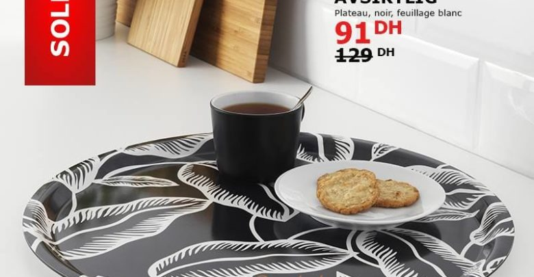 Soldes Ikea Maroc plateau AVSIKTLIG 91Dhs au lieu de 129Dhs