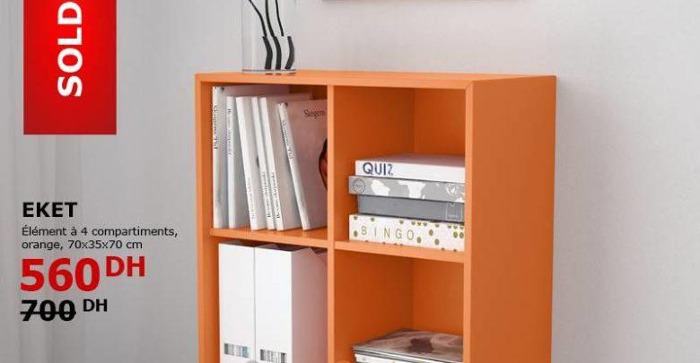 Soldes Ikea Maroc Element à 4 Compartiments Orange EKET 560Dhs au lieu de 700Dhs