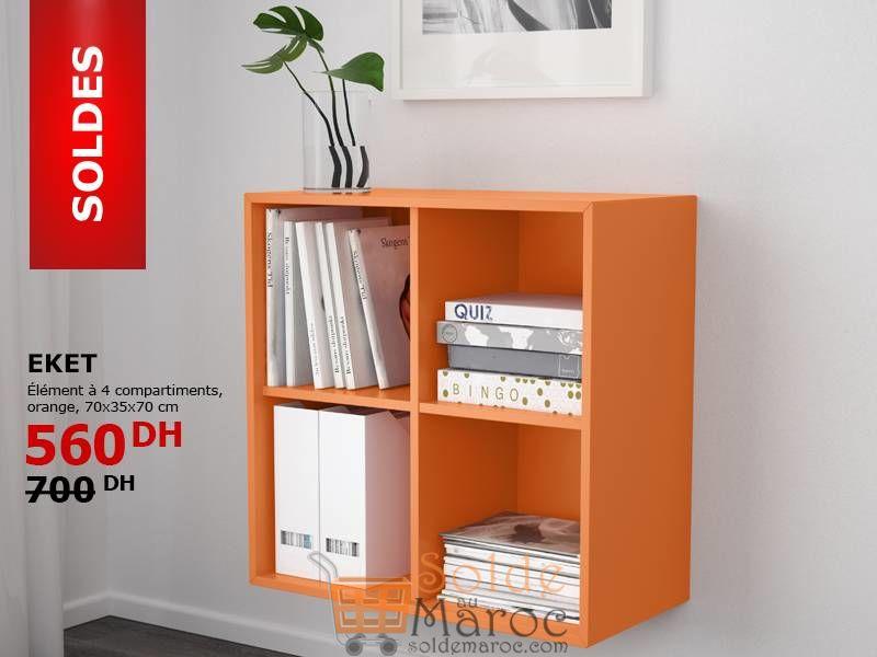 soldes ikea maroc element 4 compartiments orange eket. Black Bedroom Furniture Sets. Home Design Ideas