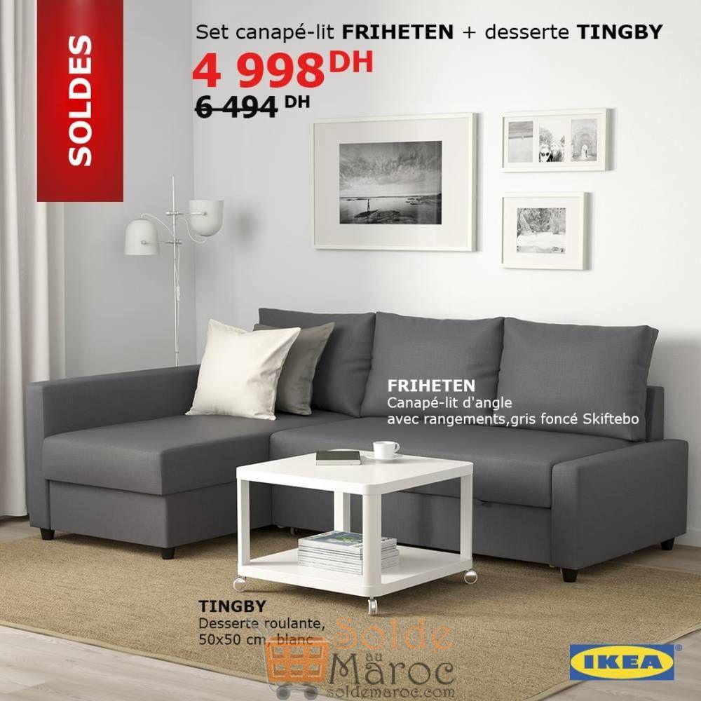 soldes ikea maroc set canap lit d angle friheten et la desserte tingby 4998dhs les soldes et. Black Bedroom Furniture Sets. Home Design Ideas