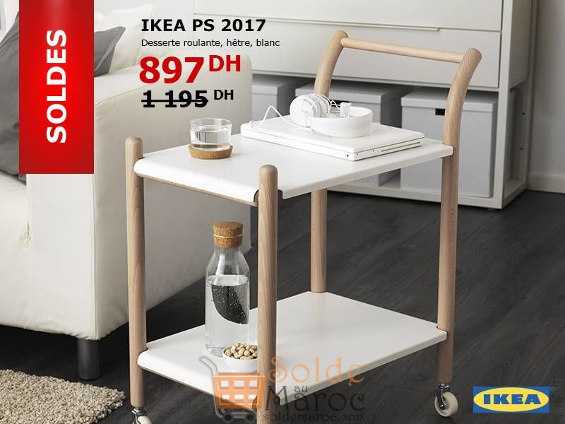 Soldes Ikea Maroc Desserte Roulante Hêtre Blanc 897Dhs au lieu de 1195Dhs