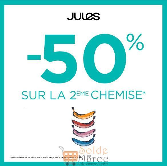 Promo Jules Maroc -50% sur la 2e chemise