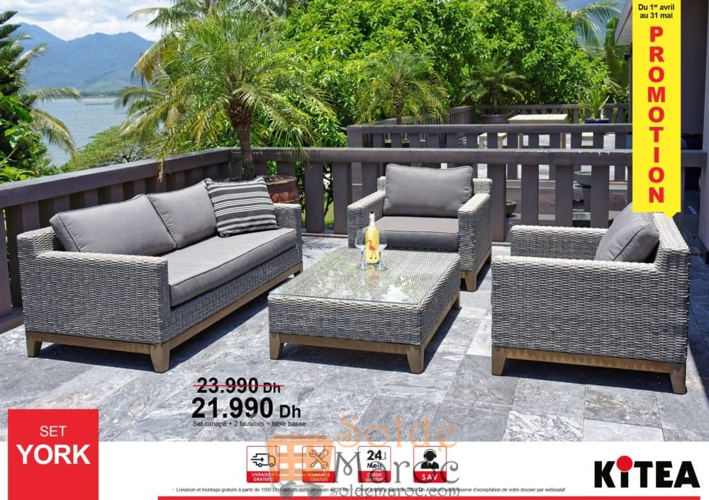 Promo Kitea Canapé SET YORK 3 places 2 fauteuils 1 place + Table basse 21990Dhs au lieu de 23990Dh