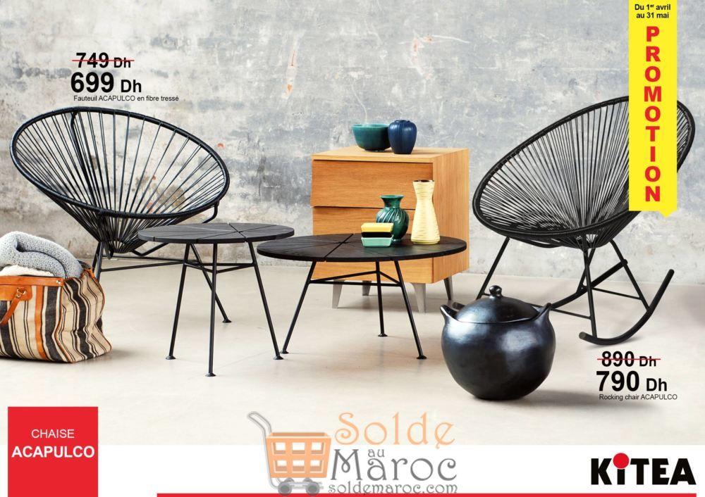 Promo Kitea Chaises & rocking chair ACAPULCO en fibre tressée 790Dhs au lieu de 890Dhs