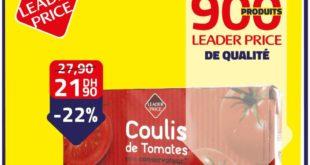 Promo Leader Price Coulis de tomates sans conservateur 21,90Dhs au lieu de 27.90Dhs