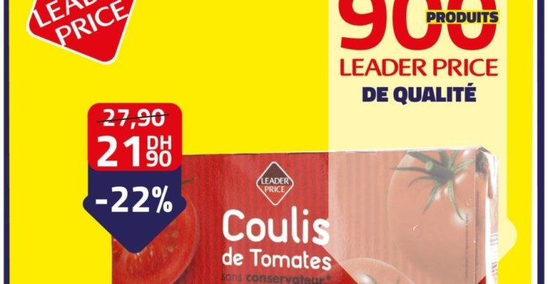 Photo of Promo Leader Price Coulis de tomates sans conservateur 21,90Dhs