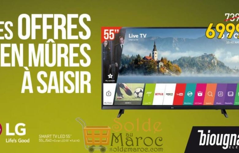 "Promo Biougnach Smart TV LED 55 "" Full HD LG 6999Dhs au lieu de 7390Dhs"