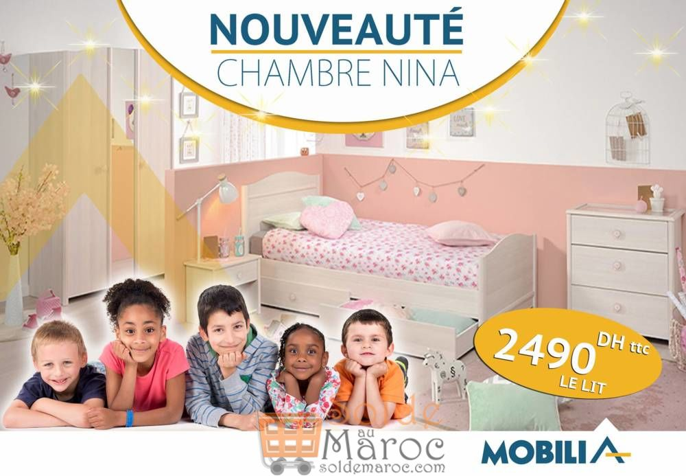 Promo Mobilia Lit Chambre NINA 2490Dhs