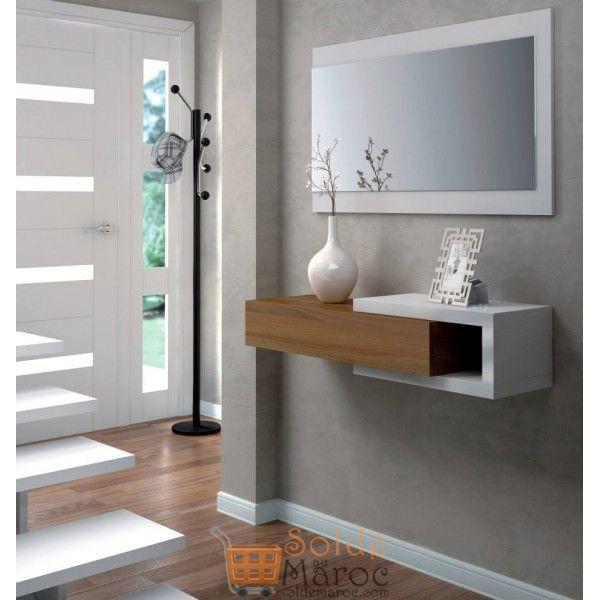 Promo Odesign Meuble d'entrée avec miroir et tiroir 1800Dhs au lieu de 2000Dhs