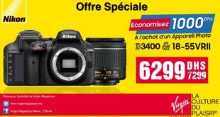 Offre Spéciale Virgin Megastore Appareil Photo Nikon D3400 6299Dhs au lieu de 7299Dhs