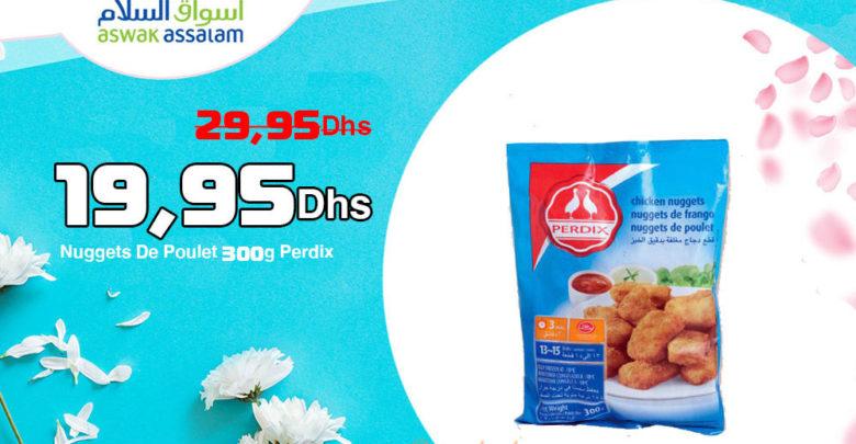 Promo Aswak Assalam NUGGETS DE POULET 300G PERDIX 19,95Dhs au lieu de 29,95Dhs