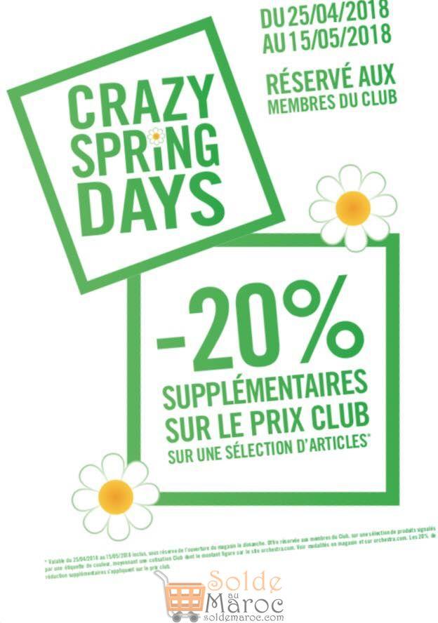 Promo Orchestra Maroc -20% supplémentaire Membres Club du 25 Avril au 15 Mai 2018