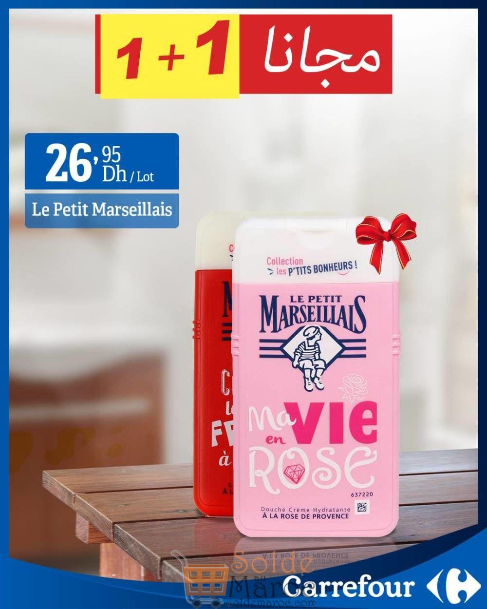 Douche Crème le petit Marseillais en promo 1+1 chez Carrefour Maroc