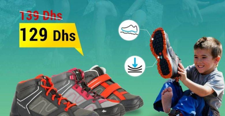 Promo Decathlon Chaussures de randonnée enfant Arpenaz 50 mid rouge velcro 129Dhs au lieu de 139Dhs