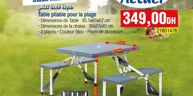 meilleur offre bim du vendredi 20 avril table pliable plage et picnic 349dhs les soldes et. Black Bedroom Furniture Sets. Home Design Ideas