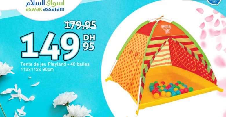 Photo of Promo Aswak Assalam TENTE DE JEU PLAYLAND + 40BALLES 149Dhs
