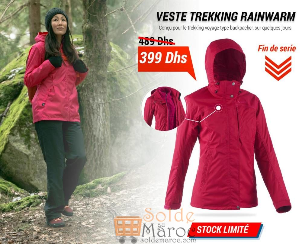 Promo Decathlon Maroc Veste Trekking Rainwarm 399Dhs au lieu de 489Dhs