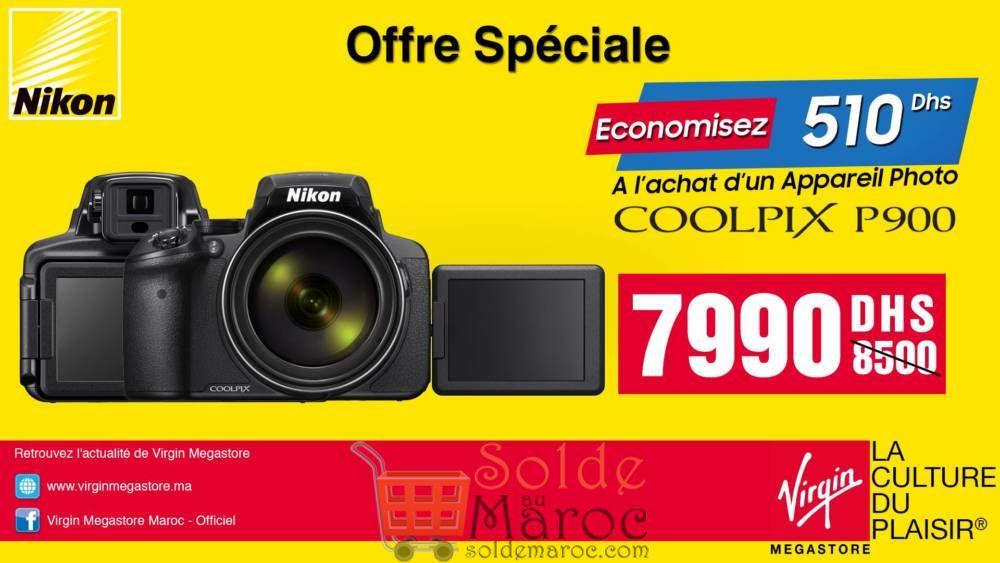 Offre Spéciale Virgin Megastore Maroc Nikon Coolpix P900 7990Dhs au lieu de 8500Dhs