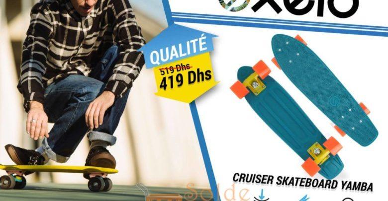 Promo Decathlon Cruiser Skateboard YAMBA Bleu Corail 419Dhs au lieu de 519Dhs