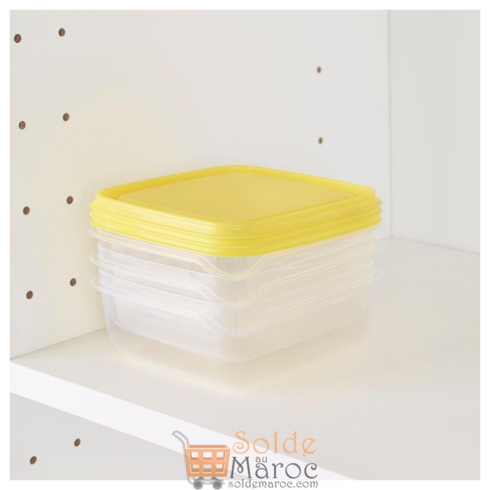 Offre Spéciale Ikea Maroc 3 Boîte de conservation Transparent Jaune PRUTA 13,50DHs