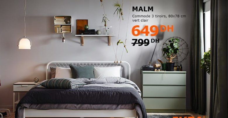 Soldes Ikea Family Maroc Commode 3Tiroirs MALM 649Dhs au lieu de 799Dhs