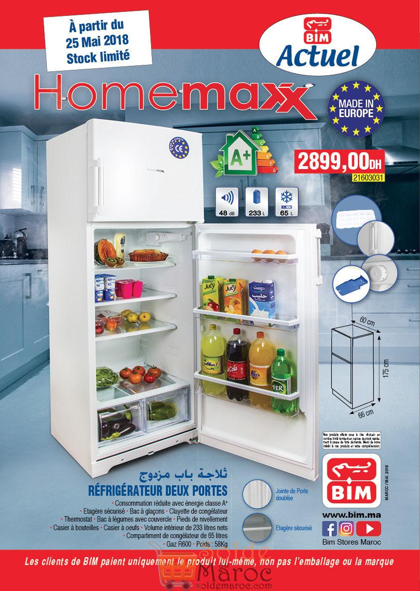 Promo Bim Maroc Réfrigérateur 2 Portes 233L 2899Dhs