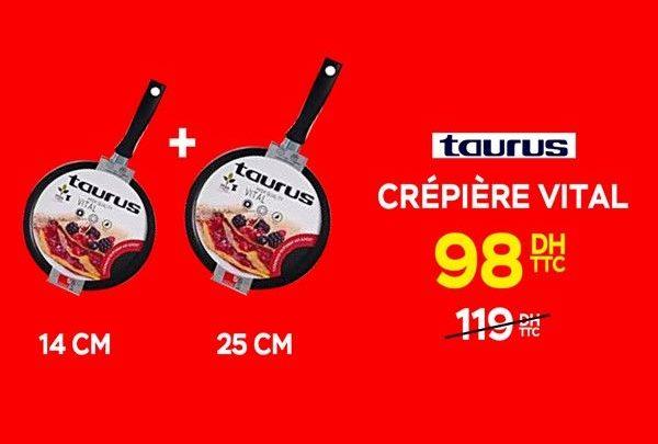 Promo Electroplanet 2 Crêpière Vital TAURUS 98Dhs au lieu de 119Dhs