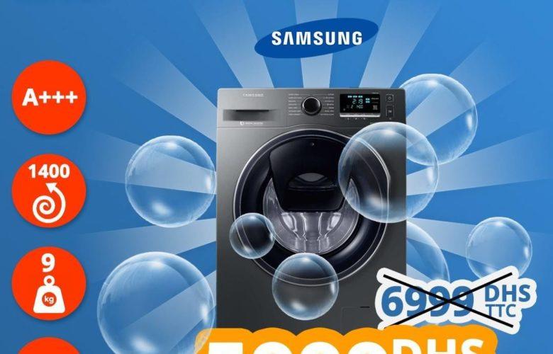 Promo Abroun Electro Super Machine à laver Samsung 9kg 5999Dhs au lieu de 6999Dhs