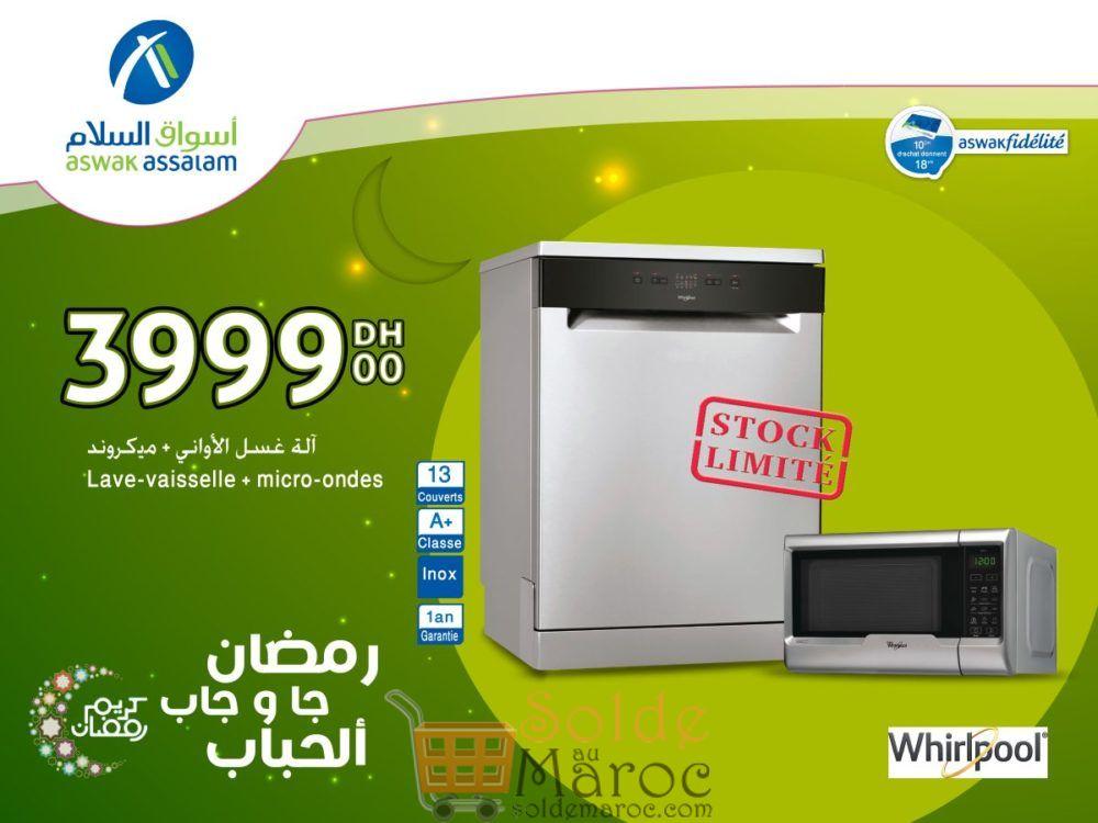 Offres Spéciales Aswak Assalam Whirlpool Lave-vaisselle + Micro-ondes 3999Dhs
