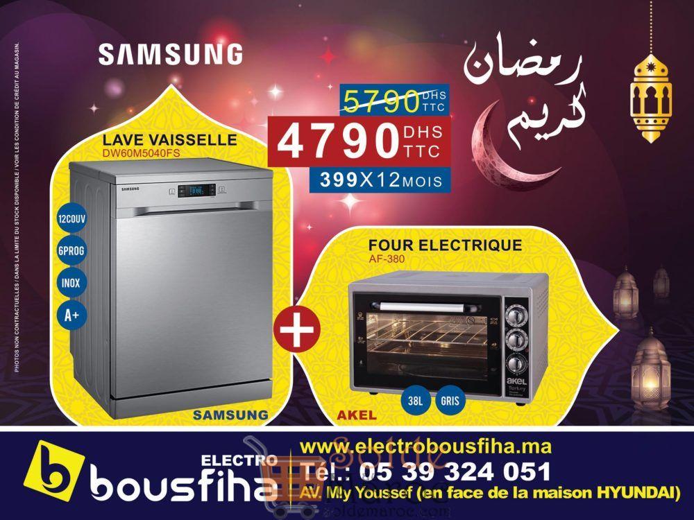 Promo Electro Bousfiha Pack Duo Samsung Lave vaisselle + Four Electrique 38L 4790Dhs au lieu de 5790Dhs