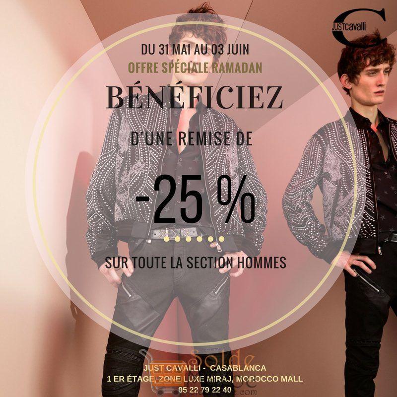 Promo Just Cavalli Maroc -25% Section Hommes du 31 Mai au 03 Juin 2018