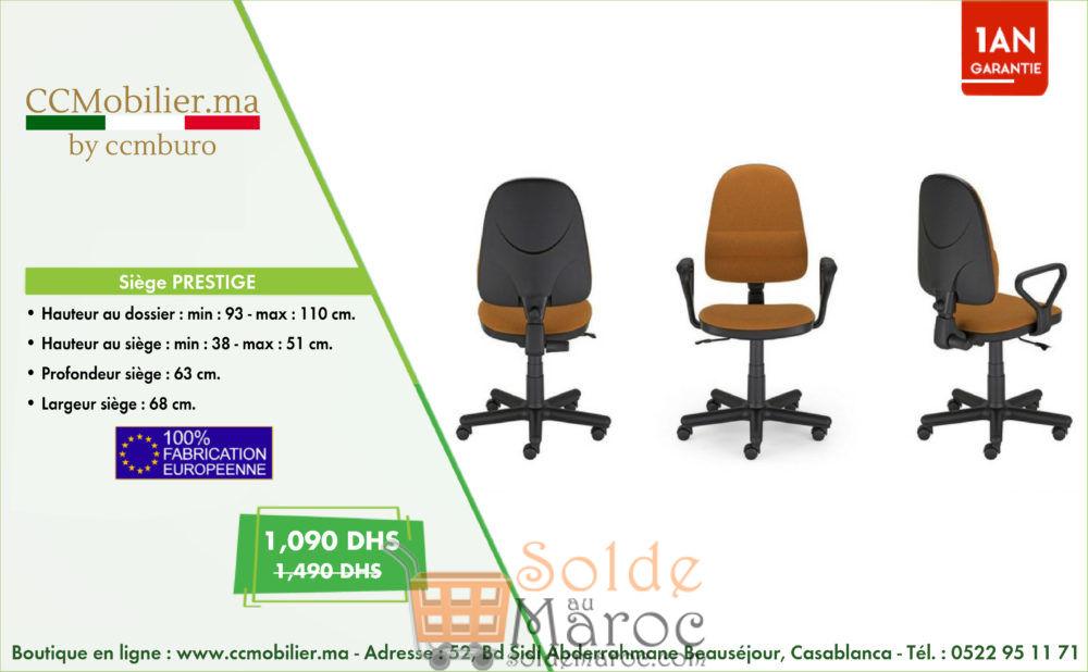 Promo CCMobilier Siège PRESTIGE 1090Dhs au lieu de 1490Dhs